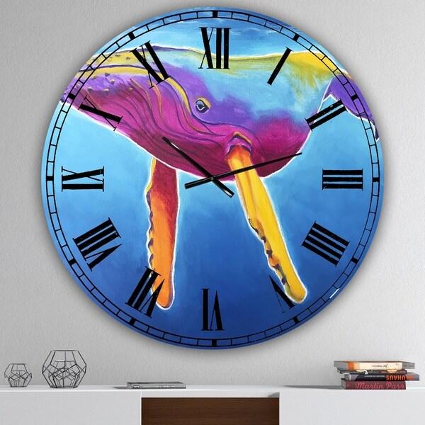 Designart 'Humpback Whale - Rainbow' Large Nautical & Coastal Wall Clock