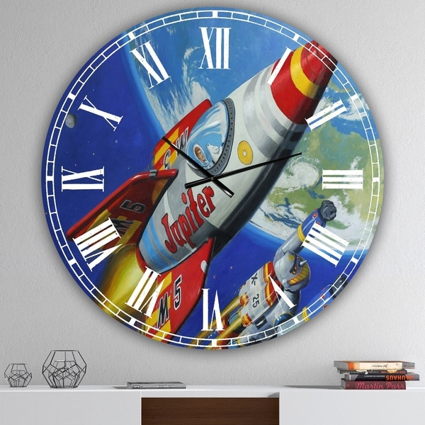 Designart 'Space Patrol 2' Large Modern Wall Clock