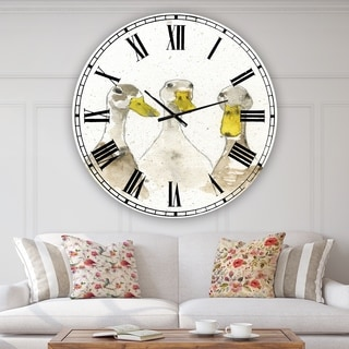 Designart 'Three White Ducks' Oversized Farmhouse Wall Clock