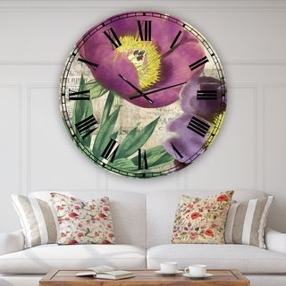 Designart 'Purple Peonies' Oversized Cottage Wall Clock