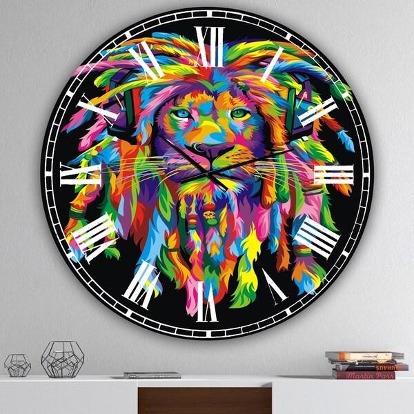 Designart 'Lion Rasta' Oversized Modern Wall Clock