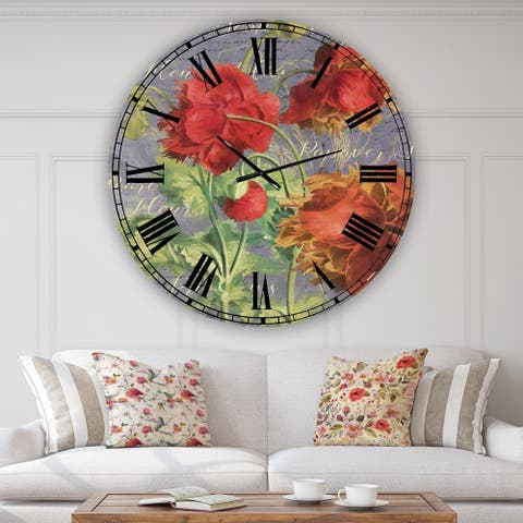 Designart 'Red Poppies' Cottage Wall Clock