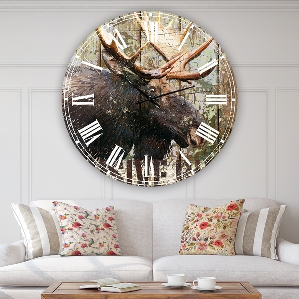 Designart 'Open Season Moose' Oversized Traditional Wall Clock
