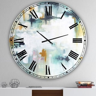 Designart 'Teal And White Composition ' Large Modern Wall Clock