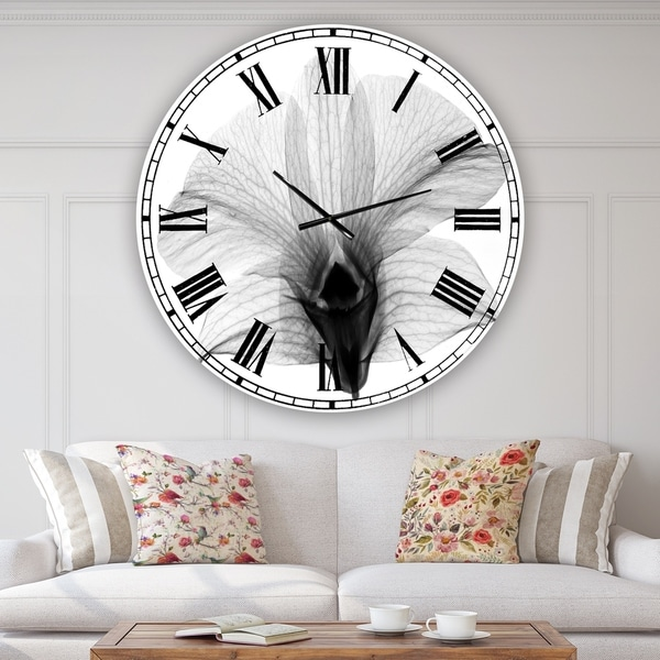Designart 'Dendrobium On Back X-Ray Orchid' Large Cottage Wall Clock