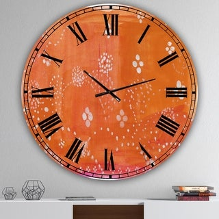 Designart 'Indian Orange Composition' Oversized Mid-Century Wall Clock