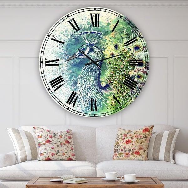 Designart 'Peacock Bliss' Large Farmhouse Wall Clock
