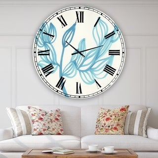 Designart 'Blooming Blue' Large Mid-Century Wall Clock