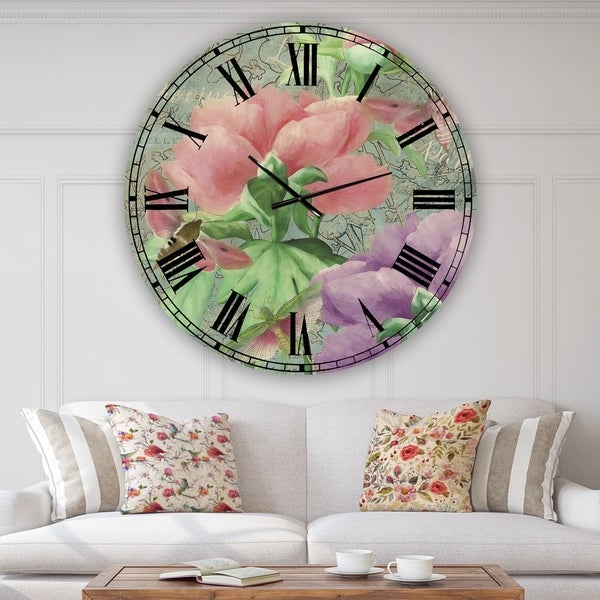 Designart 'Pink Peonies' Large Cottage Wall Clock