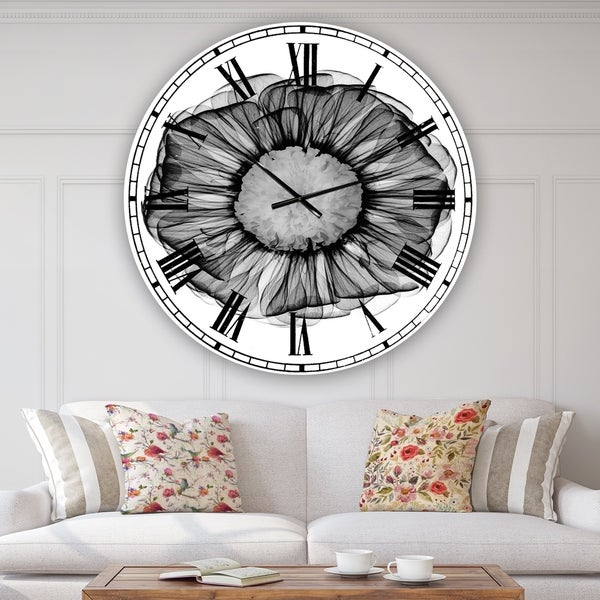 Designart 'Zinnia Montage Black & White X-Ray' Large Cottage Wall Clock