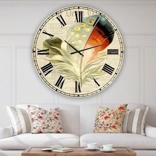 Designart 'Colorful Elegant Feather IV' Large Cottage Wall Clock