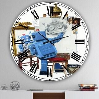 Designart 'Robot Painting Selfie' Oversized Modern Wall Clock