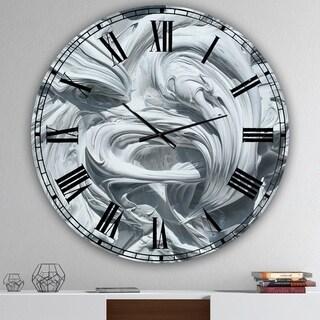 Designart 'Waves of White Gray Paint' Large Modern Wall Clock