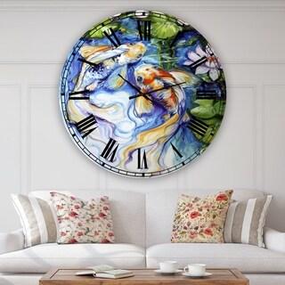 Designart 'Koi Koi And Lily' Large Nautical & Coastal Wall Clock