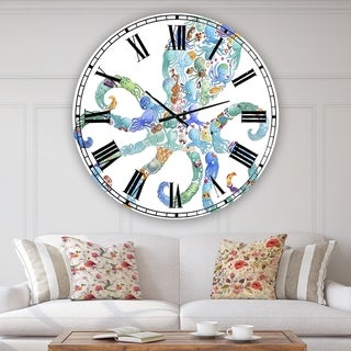 Designart 'Octopus Made Of Octopus' Large Nautical & Coastal Wall Clock