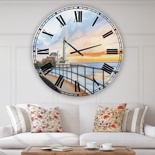 Designart 'St Marys Lighthouse' Large Nautical & Coastal Wall Clock