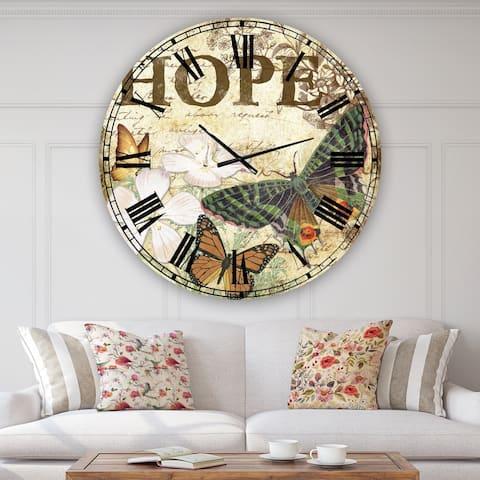 Designart 'Inspirational Butterflies Hope' Large Cottage Wall Clock