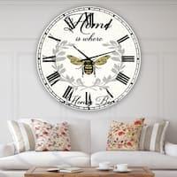 Designart 'Honey Bee A' Oversized Cottage Wall Clock