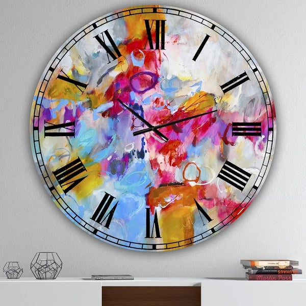 Designart 'Blue And Yellow Color Spatters IV' Oversized Modern Wall Clock
