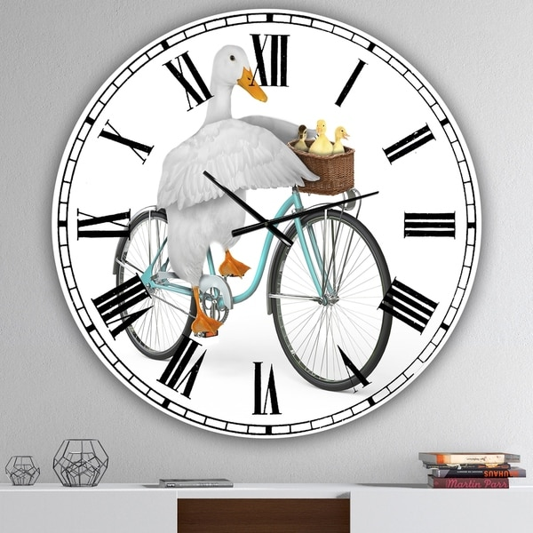 Designart 'Riding Bikes' Large Modern Wall Clock