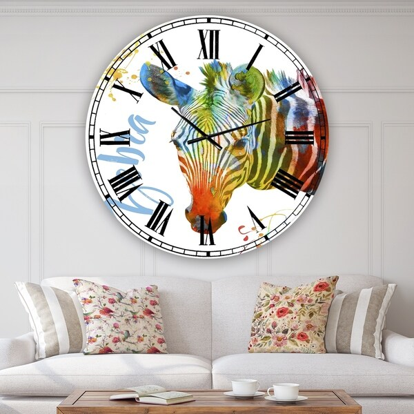 Designart 'Colorful Safari Animals A' Oversized Cottage Wall Clock
