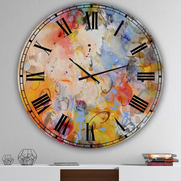 Designart 'Blue And Yellow Color Whirls' Large Modern Wall Clock