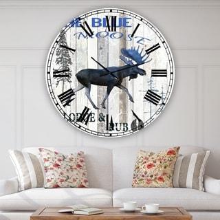 Designart 'The Blue Moose' Large Cottage Wall Clock
