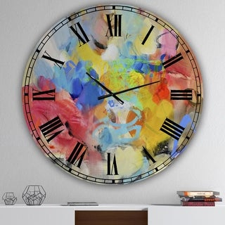 Carson Carrington Tomming 'Blue And Yellow Color Spatters III' Oversized Modern Wall Clock