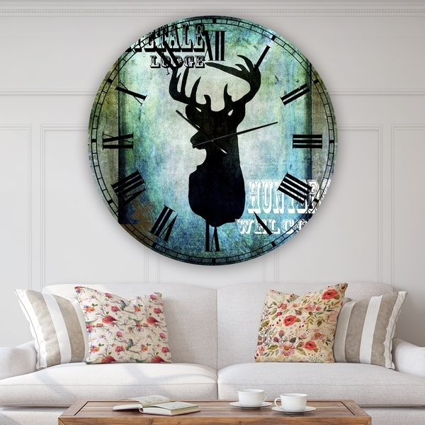 Designart 'Lodge Whitetale Lodge' Oversized Cottage Wall Clock