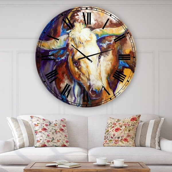 Designart 'Power Longhorn Abstract' Oversized Cottage Wall Clock