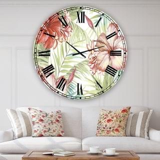 Designart 'Hibiscus Paradise' Oversized Cottage Wall Clock