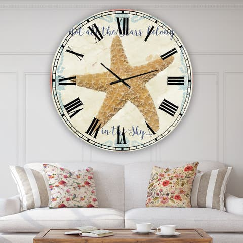 Designart 'Sea Shells-C' Large Nautical & Coastal Wall Clock
