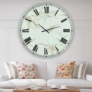 Designart Sage Flowers Green Aluminum Oversized Cottage Wall Clock