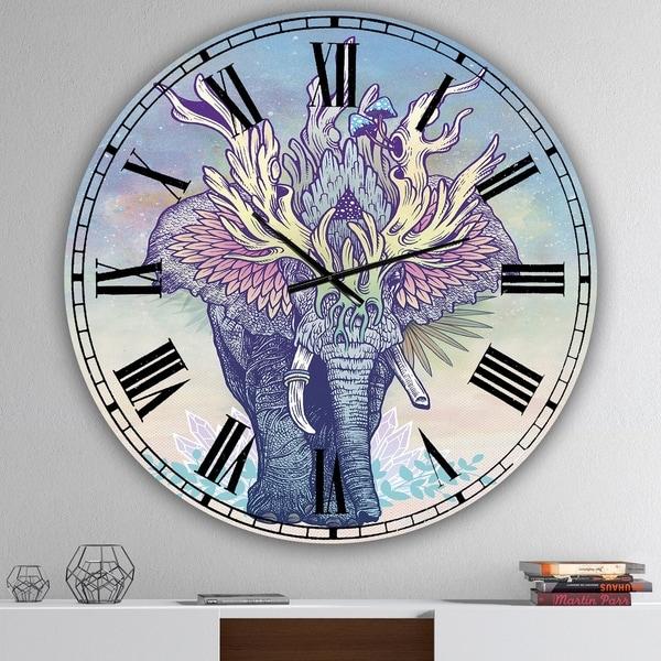 Designart 'Spirit Elephant' Large Modern Wall Clock