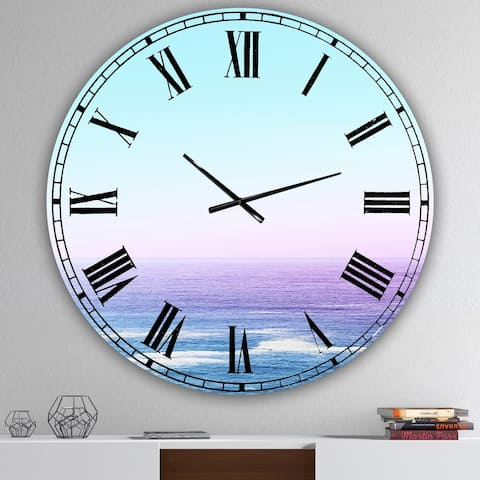 Designart 'Ocean View' Oversized Nautical & Coastal Wall Clock