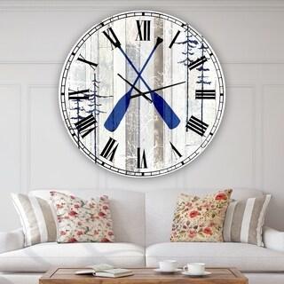 Designart 'The Blue Moose - Oars' Oversized Cottage Wall Clock