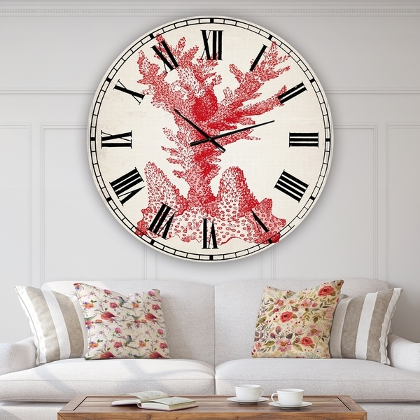 Designart 'Red Coral 1' Oversized Nautical & Coastal Wall Clock