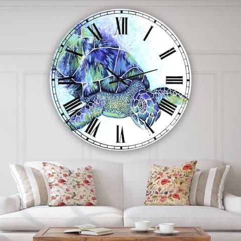 Designart 'Sea Turtle' Oversized Cottage Wall Clock
