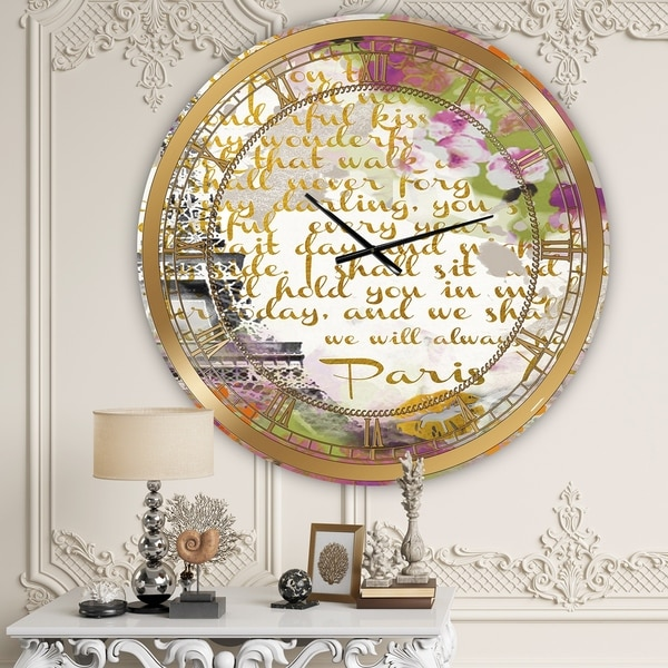 Designart 'With Love From Paris 1' Large Traditional Wall Clock