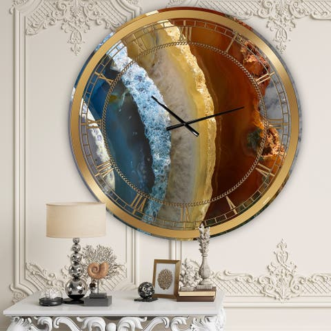 Designart 'Mineral Slice XV' Oversized Fashion Wall Clock
