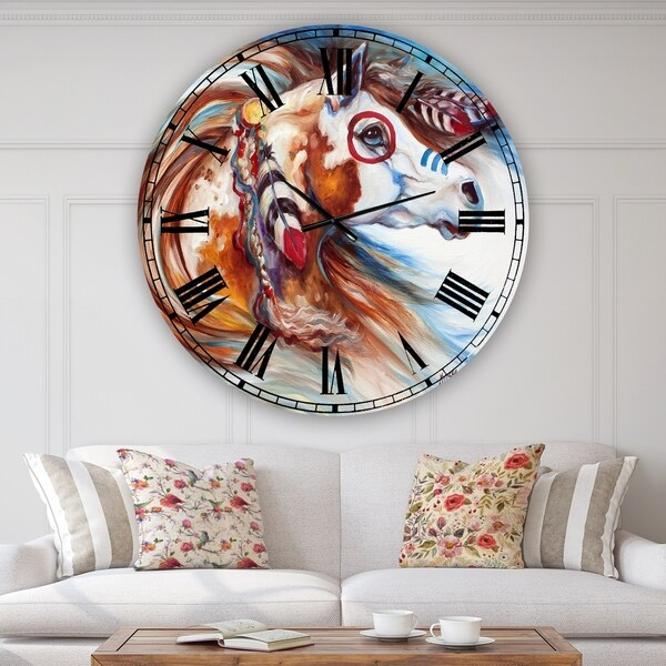 Designart 'Wind Of Thunder Indian War Horse' Oversized Cottage Wall Clock