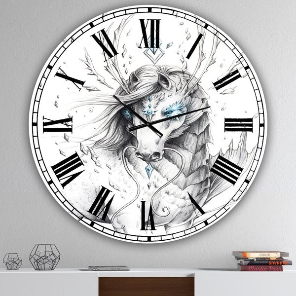 Designart 'Sea Horse Crystal Blue' Oversized Modern Wall Clock
