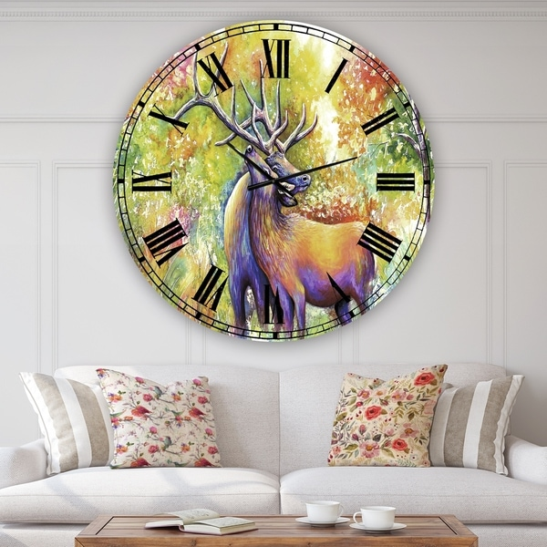 Designart 'Hugging Elk Love' Large Cottage Wall Clock