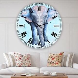 Designart 'Painted Asian Elephant' Large Cottage Wall Clock