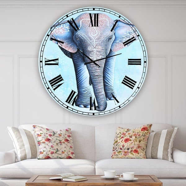 Designart 'Painted Asian Elephant' Large Cottage Wall Clock