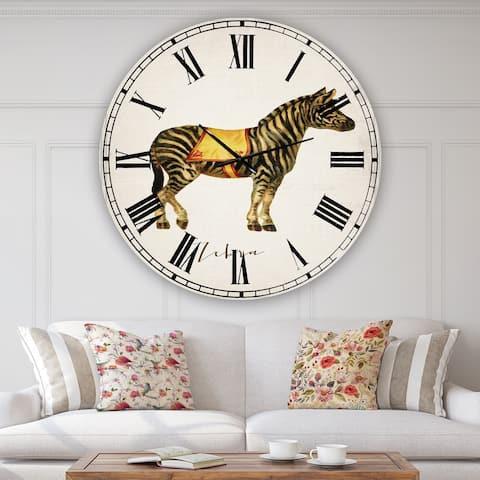 Designart 'Circus Animals Zebra' Large Cottage Wall Clock