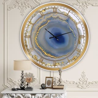 Silver Orchid Arbuckle 'Golden Water Agate' Oversized Fashion Wall Clock