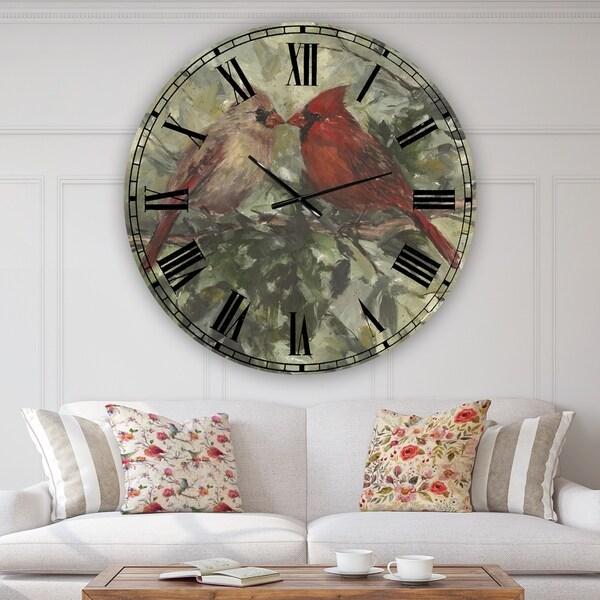 Designart 'Kissing Cardinals' Large Cottage Wall Clock