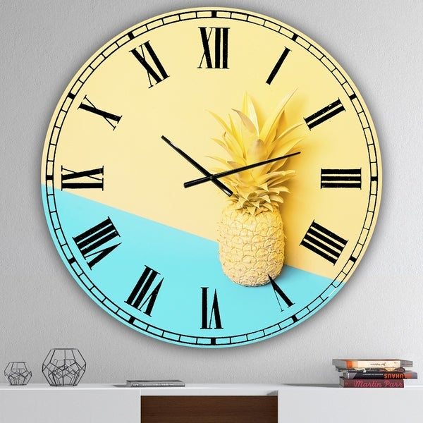 Designart 'Pink And Blue Pinapple' Large Modern Wall Clock