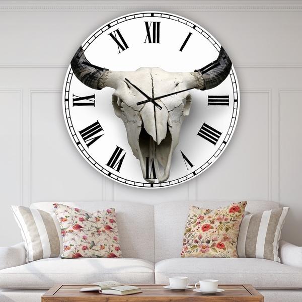 Designart 'White Cow Skull With Black Horns' Oversized Farmhouse Wall Clock